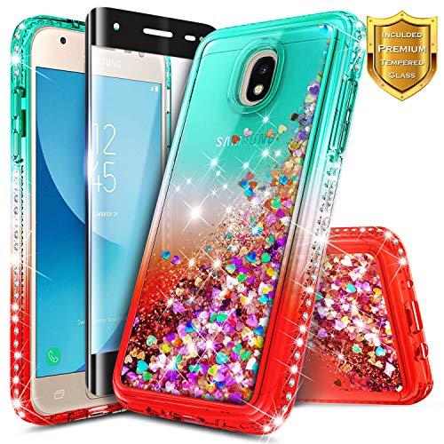 Galaxy J7 Star Case, J7 Refine/J7 Crown/J7 TOP/J7 V 2nd Gen/J7 Aura w/[Tempered Glass Screen Protector] NageBee Glitter Liquid Quicksand Sparkle Diamond Girl Cute Case for Samsung J7 2018 -Teal/Candy