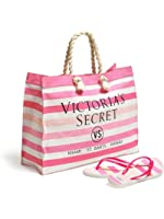 Victoria's Secret Striped Canvas Tote & Flip-Flops