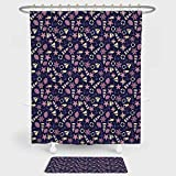 Pink and Purple Polka Dot Shower Curtain iPrint Lighthouse Shower Curtain And Floor Mat Combination Set Abstract Shell Helms Boats Fish Aquatic Pattern Polka Dots Maritime Decorative For decoration and daily use Dark Purple Pink Beige