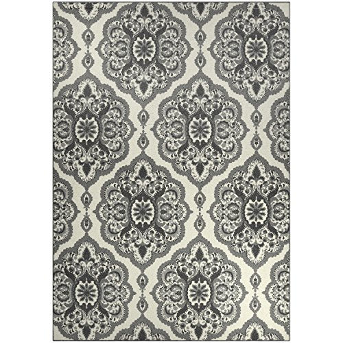 Area Rugs, Maples Rugs [Made in USA][Vivian] 7' x 10' Non Slip Padded Large Rug for Living Room, Bedroom, and Dining Room - Grey by Maples Rugs