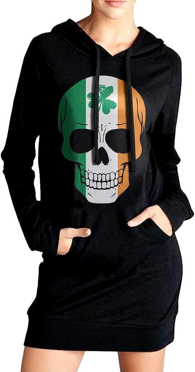 Patricks Day Womens Sports Fleece Long Hoodies Dress Outer Jacket with Kanga Pocket NVWEIYIJW Irish Skull St
