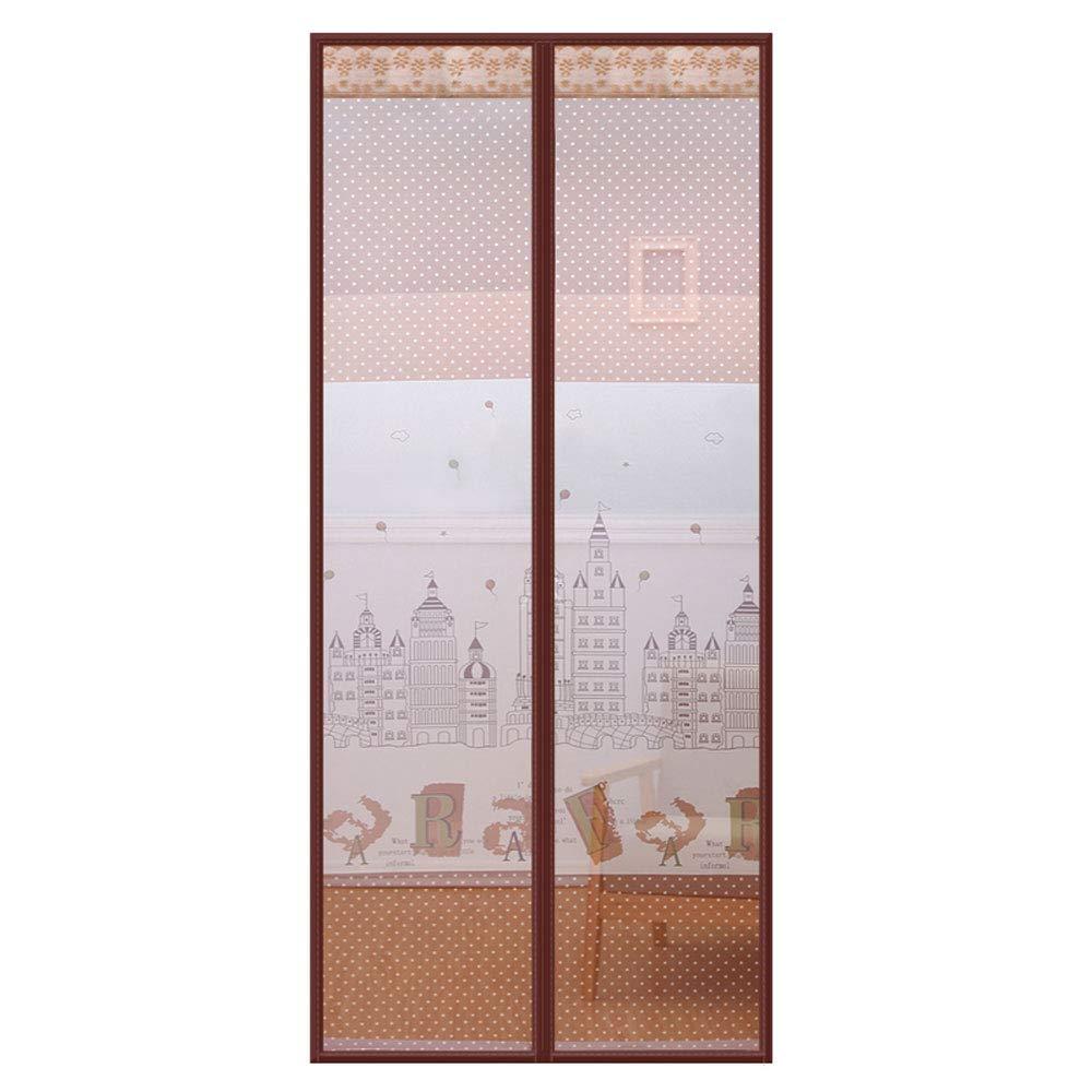 Unbekannt Magnetbildschirm-Tür, Weiche Moskito-Fliegen-Insektenschutzgitter-Vorhang Halten Sie frische Luft in & Bugs Out Vorhang für Balkon-Schiebetüren Wohnzimmer Kinderzimmer,Brown,170x220cm