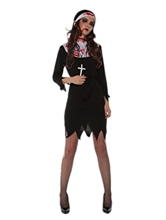 47f7fac59469b Amazon.com: JJ-GOGO Nun Halloween Costume - Sexy Black Bloody Dark ...