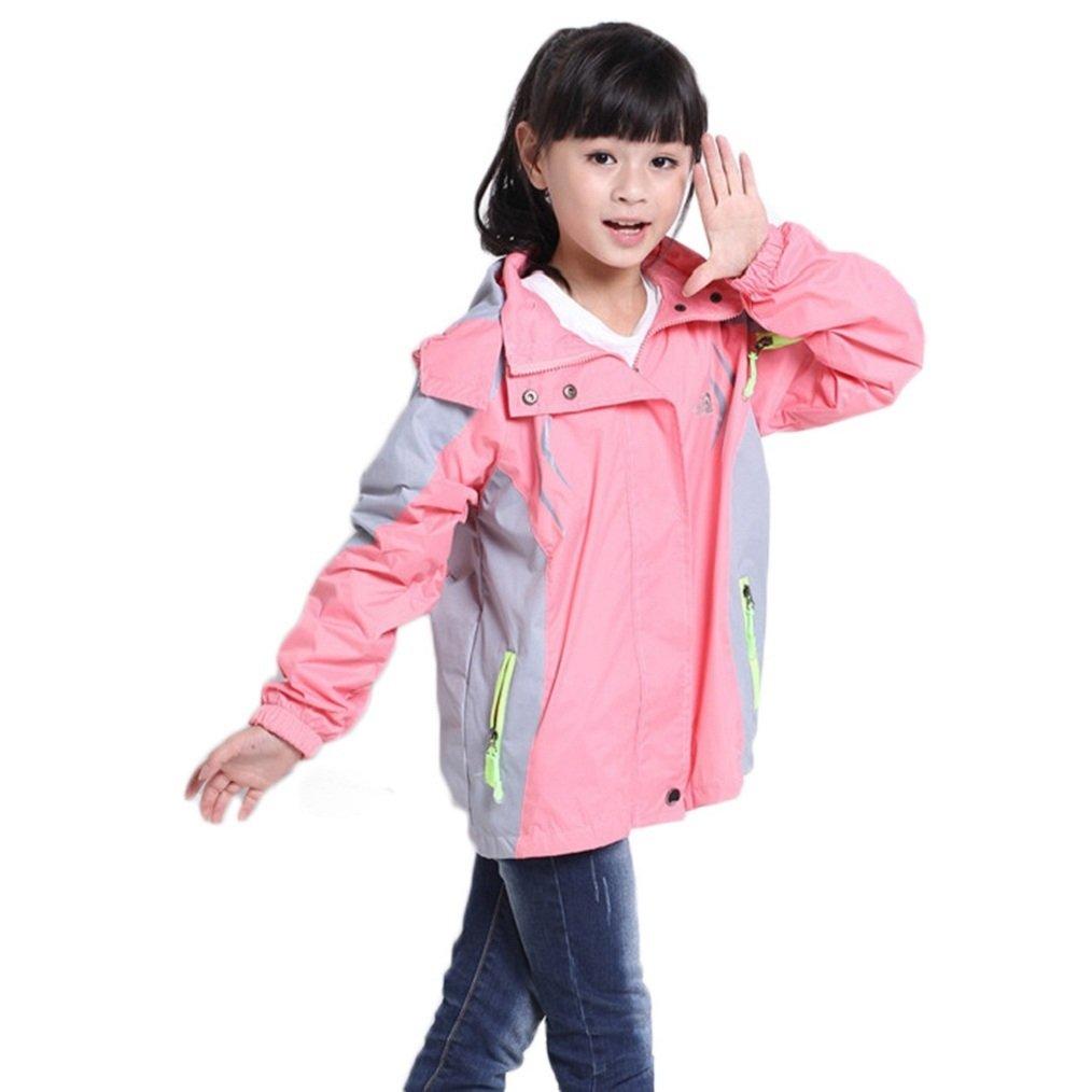 Bakerdani Girls Stand-up Collar Zipper Hooded Outdoor Sports Waterproof Coat