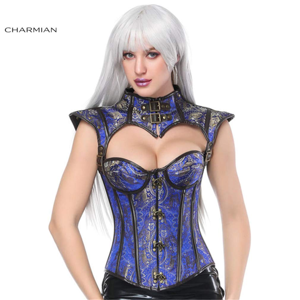 bluee Yaning Sexy Steel Boned Overbust Corset Top Corsets and Bustiers Waist Trainer