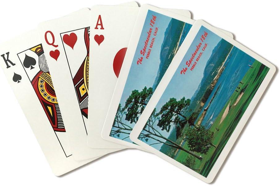 Pebble Beach, California – antena View of the 18th verde en el campo de golf (Playing Card Deck – 52 tarjeta Poker Tamaño con Jokers)