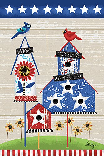 Americana Birdhouse Garden Flag - Lang - Mini Garden Flag - Bless America, Exclusive Artwork by Lori Lynn Simms - All-Weather, Fade-Resistant Polyester - 12