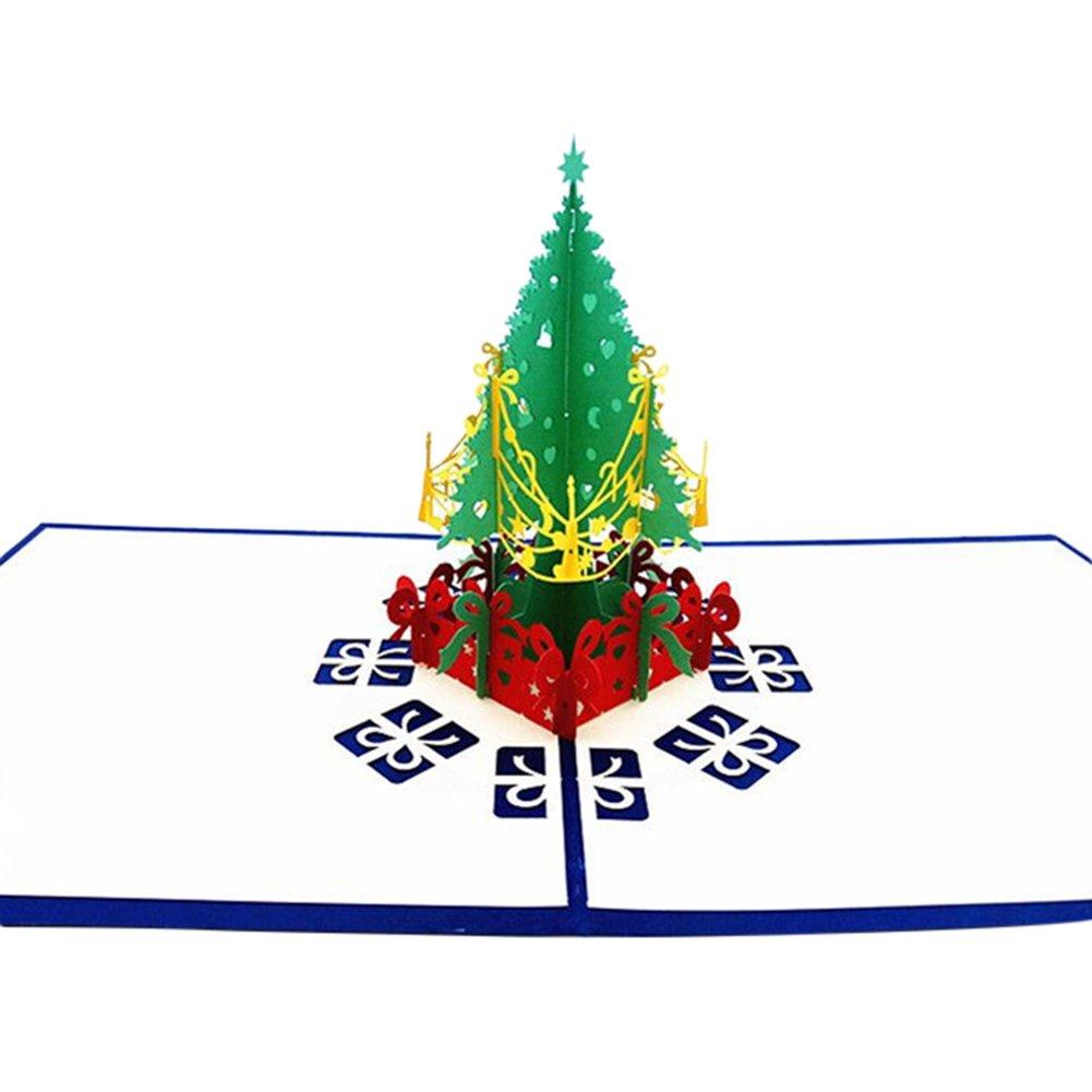 Youkara 3D Pop Up albero di Natale biglietto di auguri di buon Natale di auguri Kirigami Paper Craft per Natale festa di compleanno (blu)