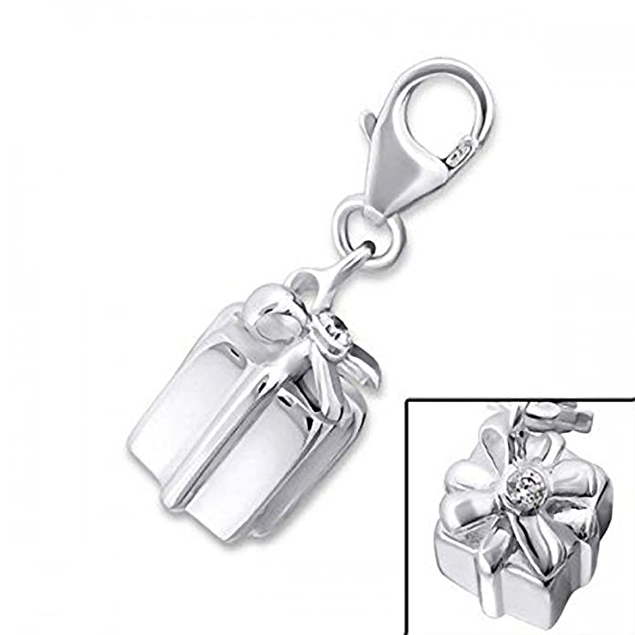 GIFT BOX/PRESENT BOX CZ Set Sterling Silver Clip-On Charm - For Thomas Sabo Style Charm Bracelets. JB3069 tkdnhCUm