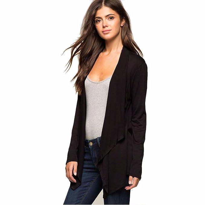 OverDose las mujeres de manga larga chaqueta de punto negro irregular tapas capa de la chaqueta