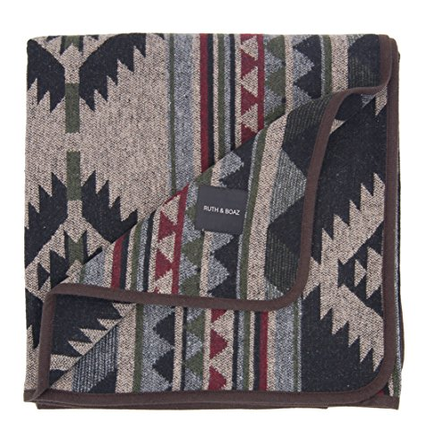 RUTH&BOAZ Outdoor Wool Blend Blanket Ethnic Inka Pattern(L) (Burgundy, Large) ()