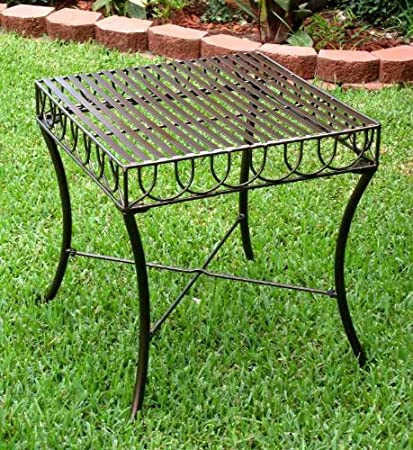 Amazon Com International Caravan Iron Outdoor Patio Side Table