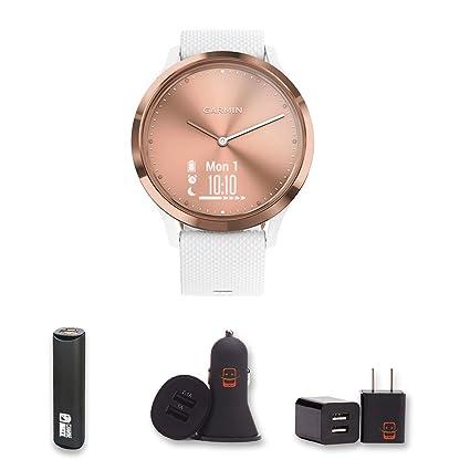 Garmin Vivomove HR Sport (Rose Gold) Small/Medium Hybrid Smartwatch Bundle with PowerBank + USB Car Charger + USB Wall Charger (4 Items)