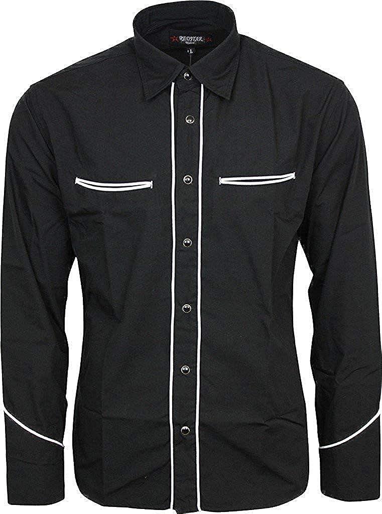 Relco Negro Liso Cowboy del Oeste con Ribete Blanco Camisa Manga Larga: Amazon.es: Ropa y accesorios