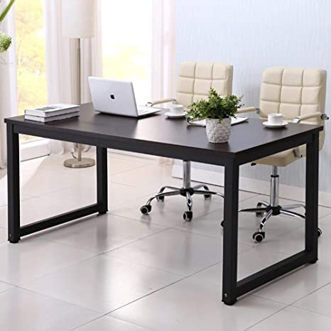 new styles 2eb21 4c0fc Home Office Desk, 63in Writing Desks Large Study Computer Table  Workstation,Black Wooden Top+Black Metal Leg