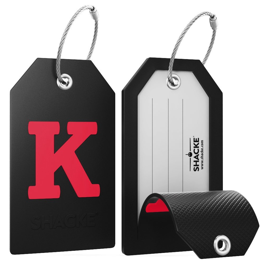 Initial Luggage Tag with Full Privacy Cover and Stainless Steel Loop (Black) (K) by Shacke (Image #2)