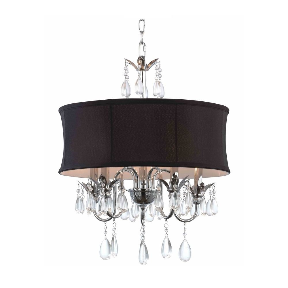 Luxury Black Drum Shade Crystal Chandelier Pendant Light