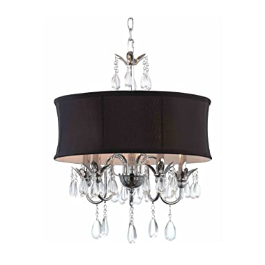 Black Drum Shade Crystal Chandelier Pendant Light