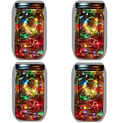 4-Pack Solar Powered Mason Jar Lights (Mason Jar & Handle Included),5 Colors 10 Bulbs Jar Hanging Light,Garden Outdoor Solar Lanterns,Hanging Lantern,Mason Jar Decor Solar Light,Table Light,Patio ()