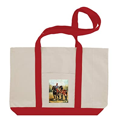 50%OFF Groom With Two Horses (Toulouse Lautrec) Cotton Canvas Boat Tote Bag Tote