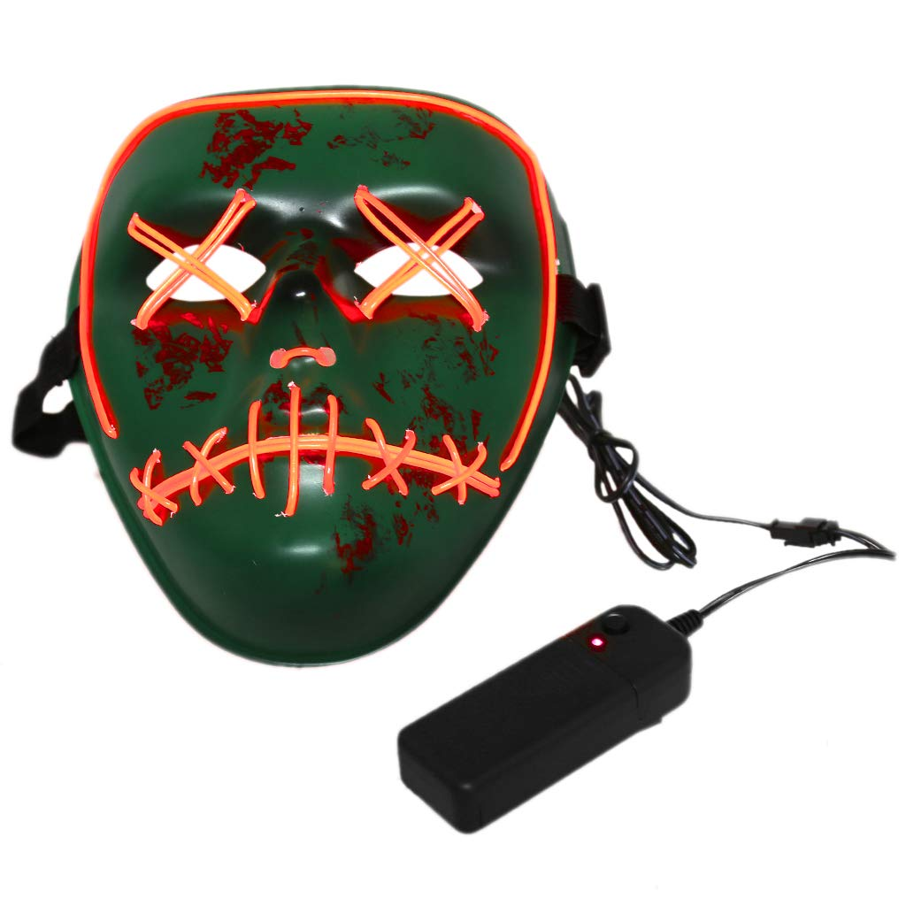 Yumoo Funny Scard EL Wire LED Lighting Mask Halloween Cosplay Festival Costume Tools (Red)