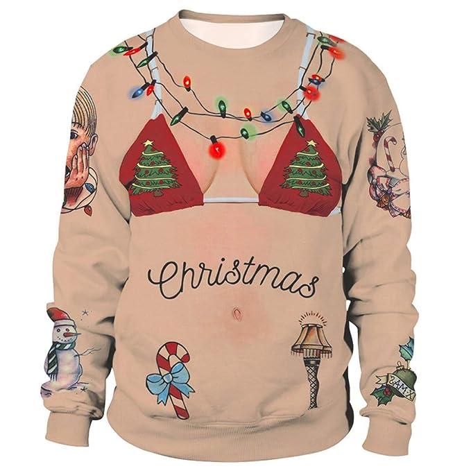 AILIENT Mujeres Christmas Sudadera Estampado 3D Divertidas Outwear Moda Sweatshirt Deportiva Top para Mujer: Amazon.es: Ropa y accesorios