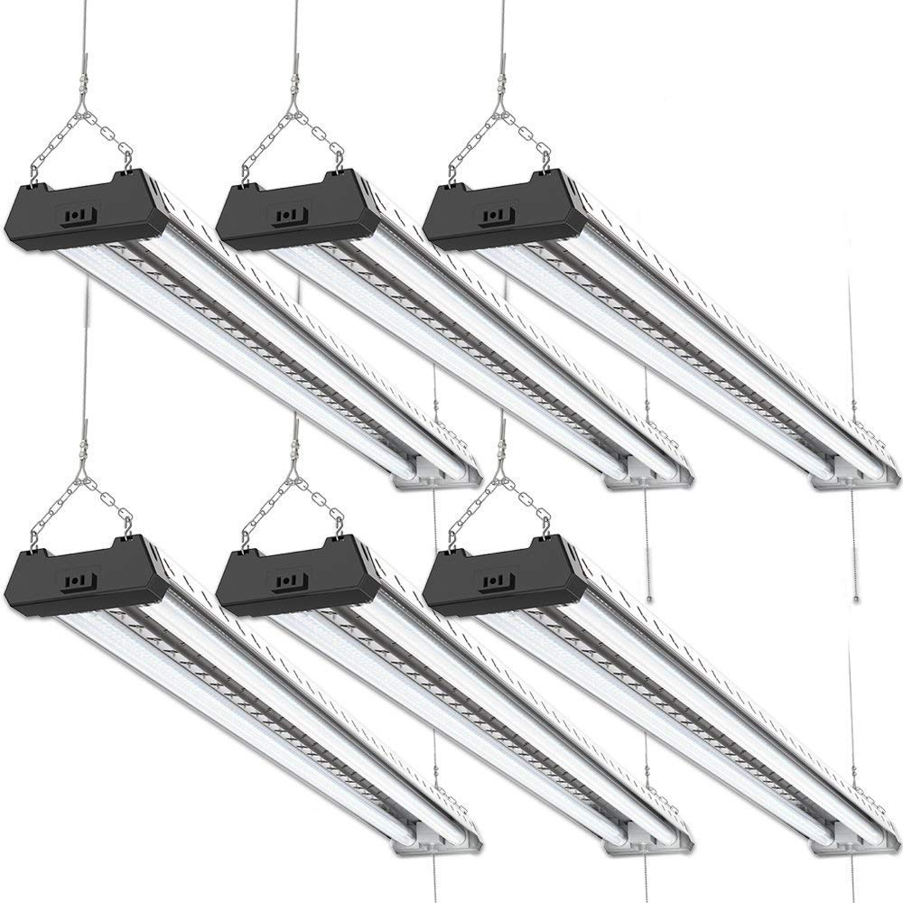 Sunco Lighting 6 Pack Industrial LED Shop Light, 4 FT, Linkable Integrated T8 Fixture, 40W=260W, 6000K Daylight Deluxe, 4000 LM, Surface + Suspension Mount, Pull Chain, Garage Light - Energy Star by Sunco Lighting