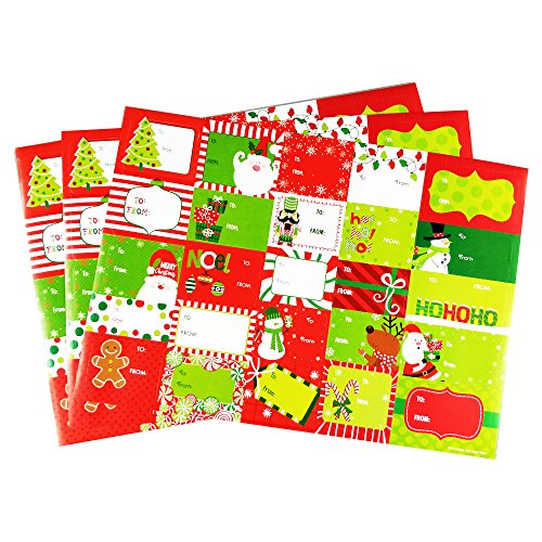 Christmas Sticker Labels Qorol 75pcs Adhesive Gift Tags Wrap Tags Jumbo Large Labels For Holiday Presents, Wrapping Paper, and Gift Bags (Assorted Designs) (Christmas Envelope Labels)