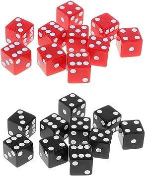B Blesiya 20 Dados Punteados Negro Rojo para Juegos de Mesa Tablero Juego - 1.6cm: Amazon.es: Juguetes y juegos