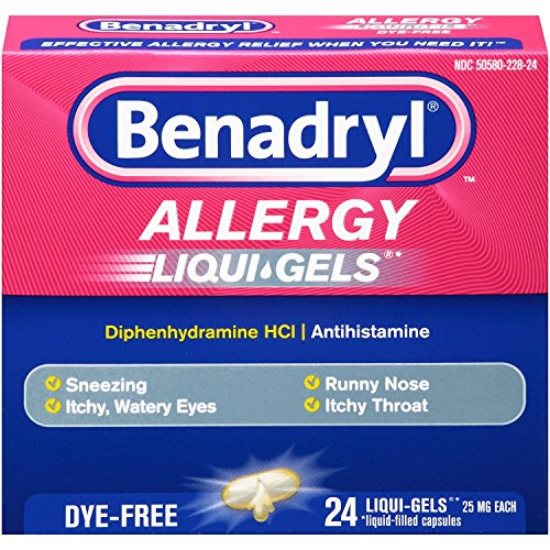 Benadryl Antihistamine Allergy Medicine & Cold Relief, Dye-Free LIQUI-GELS Tablets, Liquid Gels, 24 Count - Pack of 3