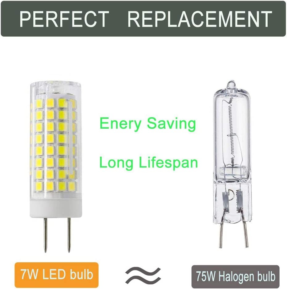 730LM LED G6.35//GY6.35 Bulb Dimmable G6.35//GY6.35 Base T4 JC Type 75W Halogen Bulb Replacement G6.35 LED Bulb 2-Pack 7W LED GY6.35 Bi-pin Base Light Bulb Daylight White 6000K