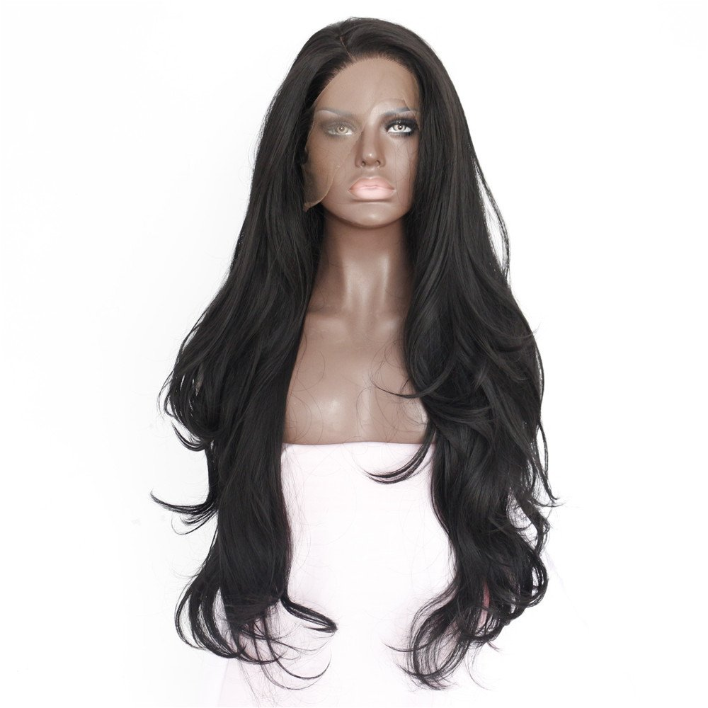 eNilecor Natural Black Lace Front Wig Long Curly Synthetic Wigs for Black Women with Free Wig Cap(Black)