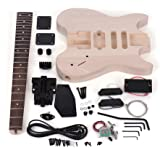 ammoon Electric Guitar DIY Unfinished Basswood Body Rosewood Fingerboard Kit Maple Neck Special Design Without Head