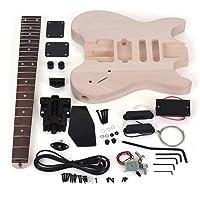 Kalaok Bricolaje sin Terminar Kit de Guitarra Eléctrica Cuerpo de Tilo Diapasón de Palisandro Cuello de Arce Diseño Especial sin Cabezal