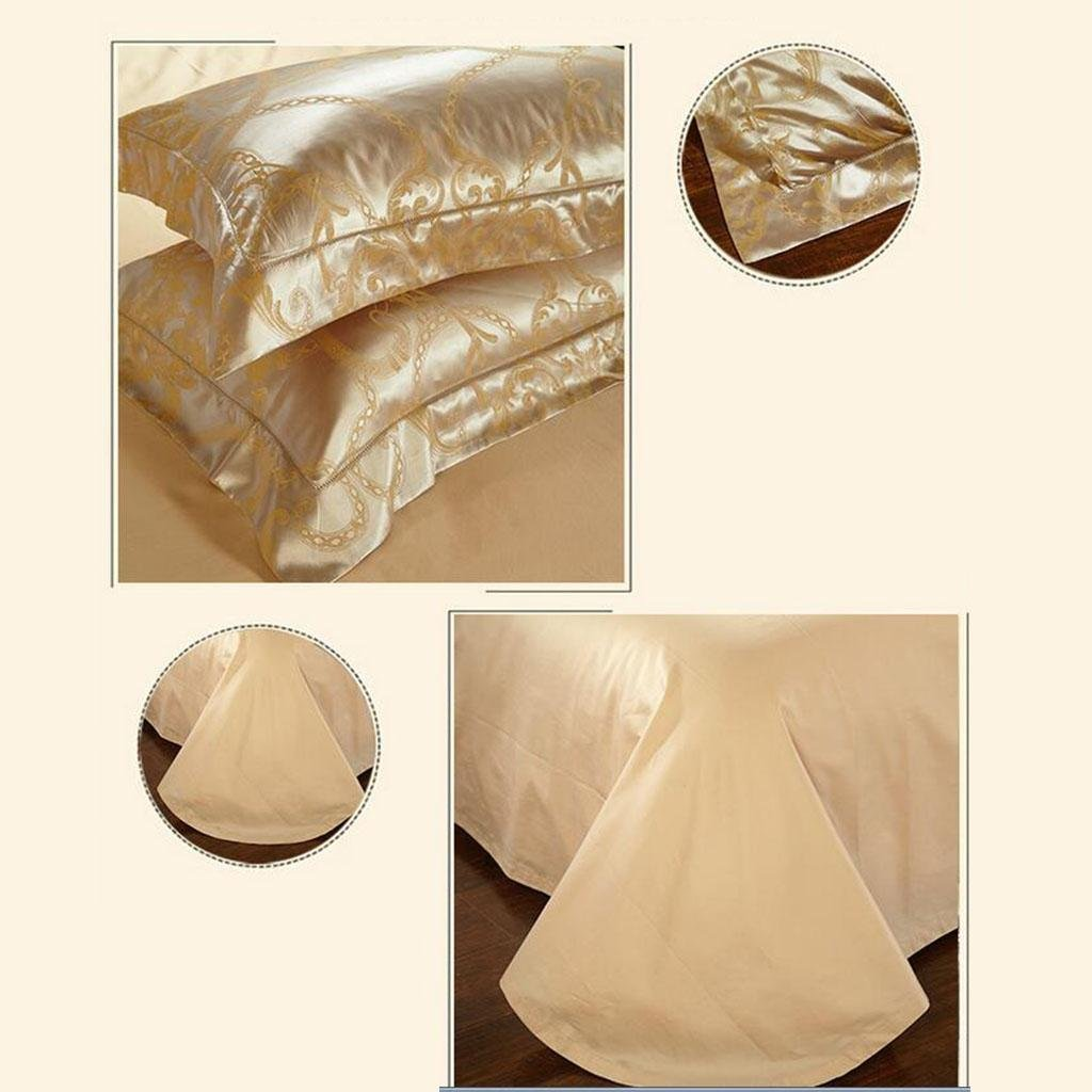 L&M European style silk Four sets Mulberry silk Sided Silk Solid color Wedding Kit Bed Supplies 200 230 cm , gold , 200230cm by WANG (Image #5)