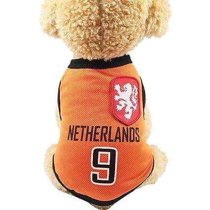 SungpunetPuppy - Camiseta de fútbol para Perro, Transpirable, diseño de Gato, Color Naranja