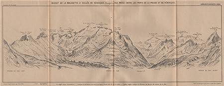 Map Of Spain Huesca.Maladeta Massif Benasque Valley Venasca Huesca Aragon Panorama