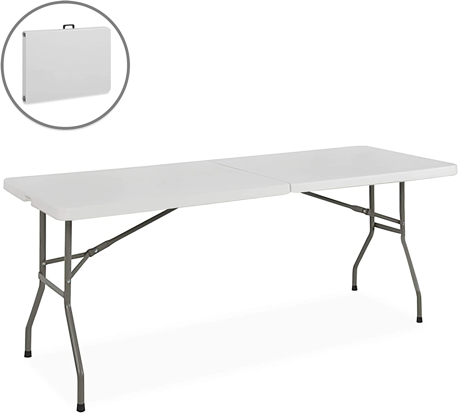 Best Choice Products Portable 6 Foot Folding Utility Table - White