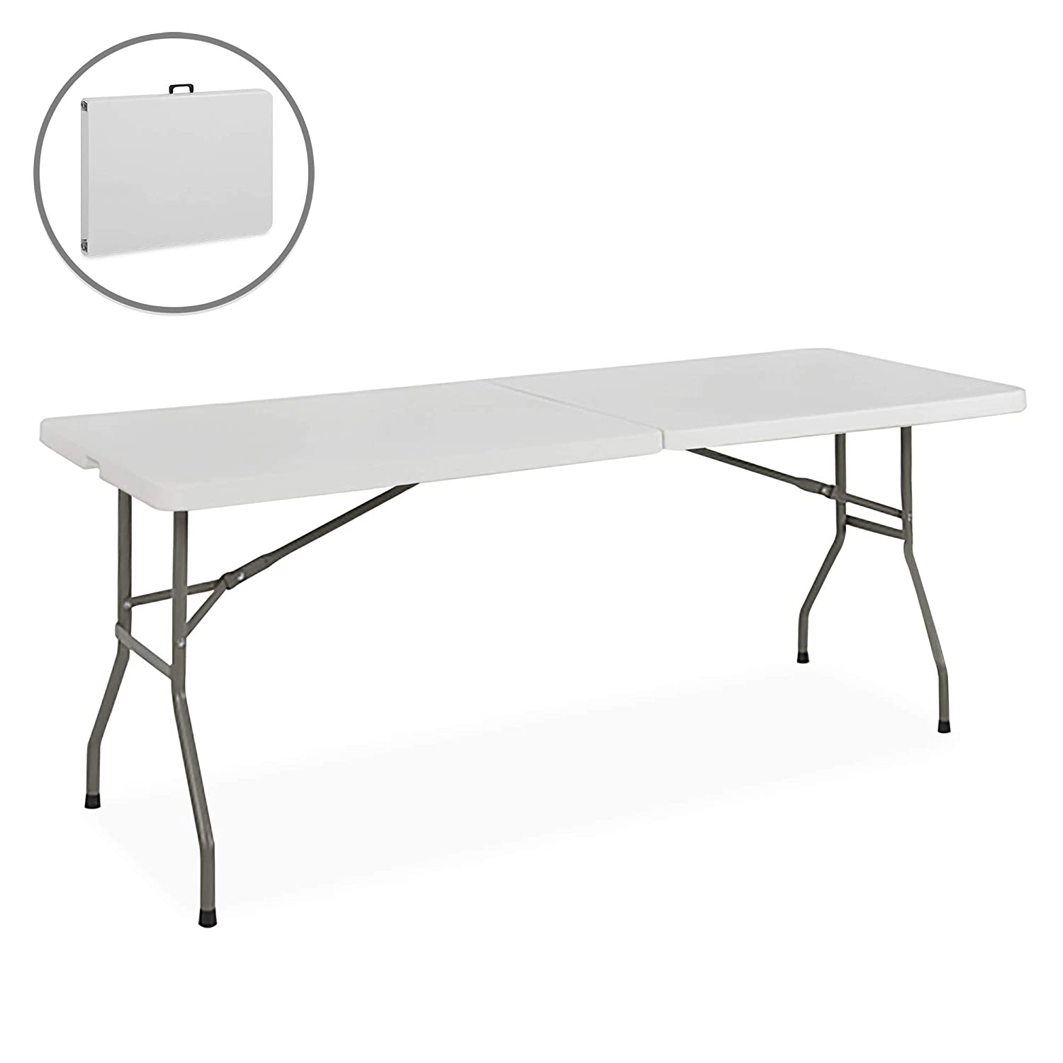 Best Choice Products Portable 6 Foot Folding Utility Table – White