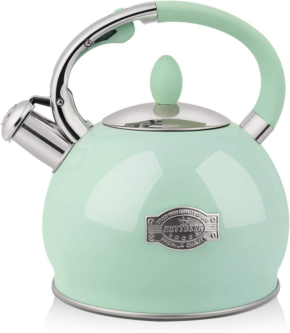 RETTBERG 2.64-Quarts Tea Kettle for Stovetop Food grade stainless steel Teapot with Ergonomic Handle(Mint Green)