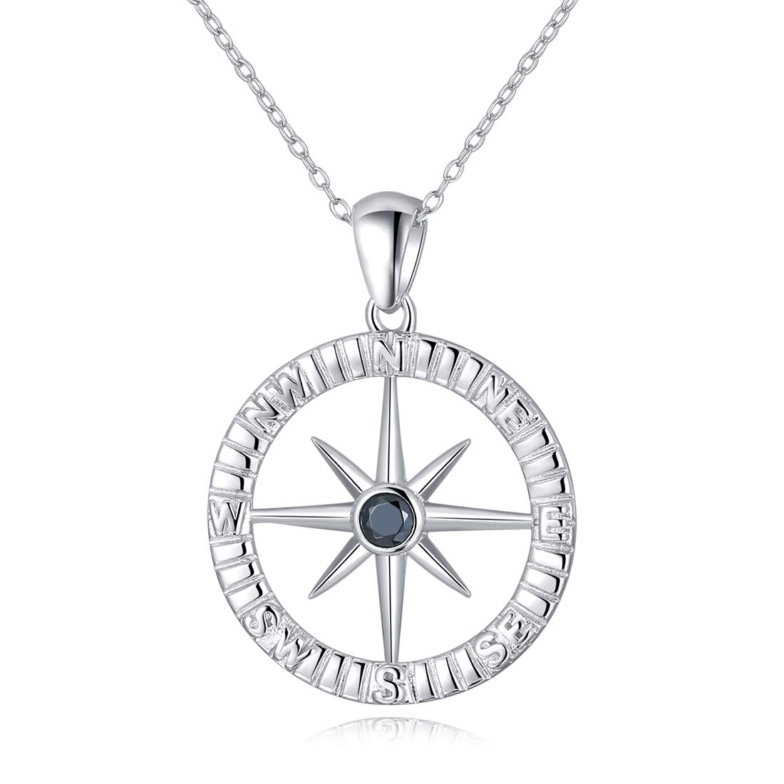 LAIMALA Compass Necklaces Best Friend Relationship Rhinestone Pendant Sterling Silver Jewelry