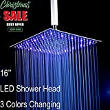 Fyeer 16'' LED Rainfall Shower Head Square, Ultra-thin Luxury Bathroom Showerhead Ceiling Mounted, 3-LAYER Brushed Nickel 304 Stainless Steel, Temperature Sensor 3 Colors Chaning
