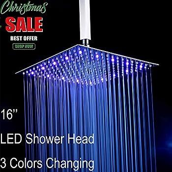 fyeer 16 led rainfall shower head square ultra thin luxury bathroom showerhead ceiling - Led Shower Head
