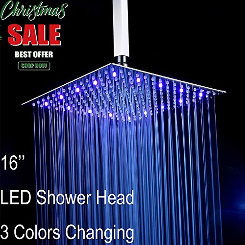 Fyeer 16'' LED Rainfall Shower Head Square, Ultra-thin Luxury Bathroom Showerhead Ceiling Mounted, 3-LAYER Brushed Nickel 304 Stainless Steel, Temperature Sensor 3 Colors Chaning by Fyeer