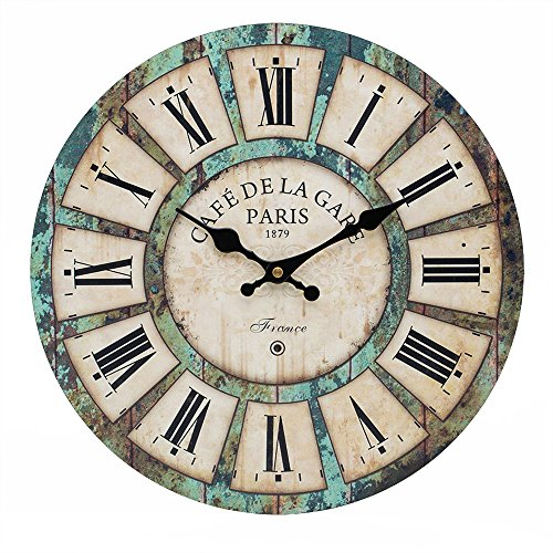 16-inch French Tuscan Wood Wall Clock, Carpenter Large size clock (16