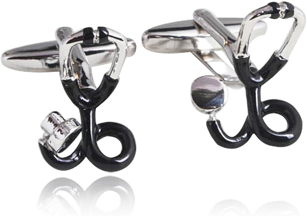 Echometer Shape Cufflinks 18K Platinum Plated Men Shirt Cuff Buttons Fashion Cuff Studs