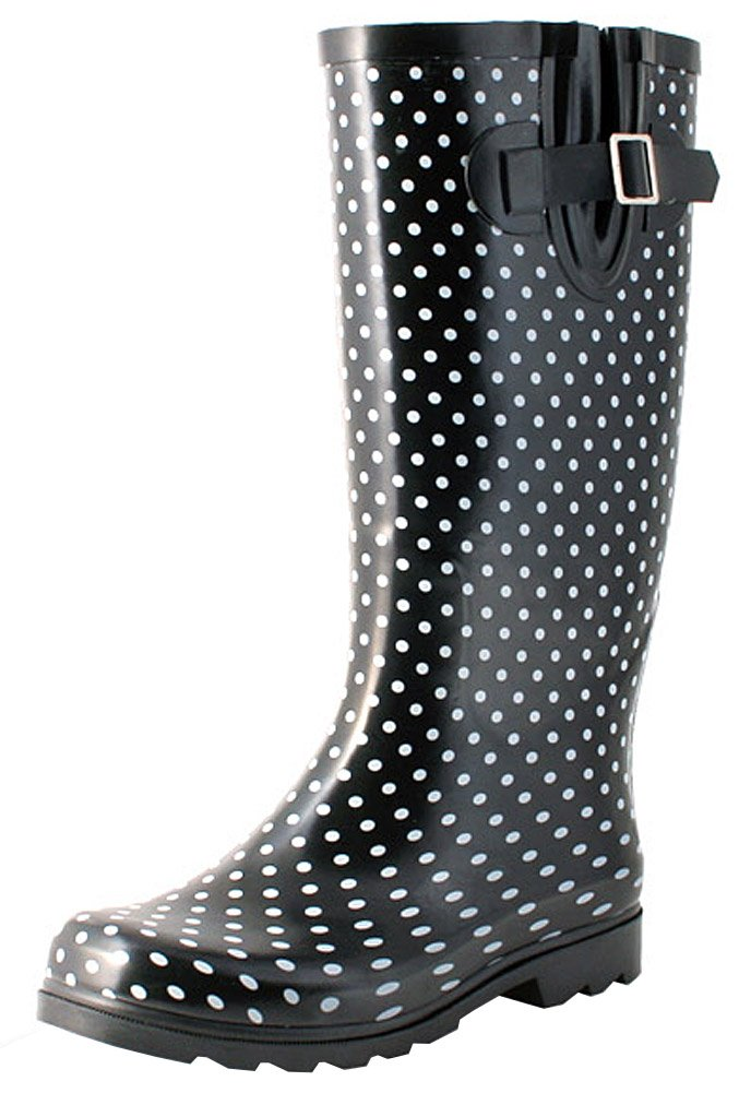 TWO Nomad Women's Drench Colorful Pattern Print Waterproof Rain Boots,7 B(M) US,Black/White Small Dots