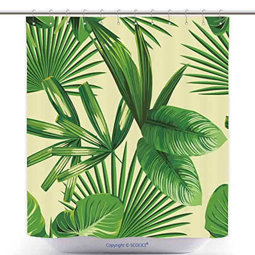 pic Print Summer Exotic Jungle Plant Tropical Palm Leaf And Branch. Pattern, Seamless Floral Vector On Yellow Green Background. Nature Flower Wallpaper Polyester Bathroom Shower Curtain Set With Hooks - Halloween Costumes Pics Ideas