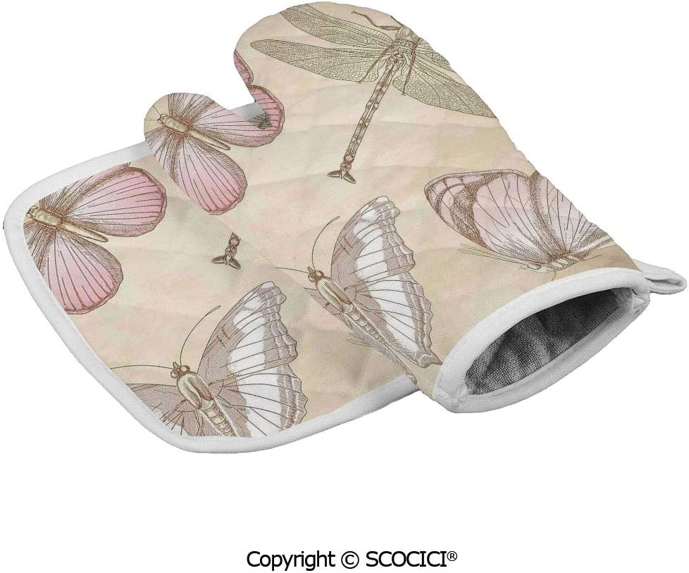 SCOCICI Oven Mitts Glove - Butterflies Bugs Old Collector Image on Abstract Retro Backdrop Heat Resistant, Handle Hot Oven Cooking Items Safely