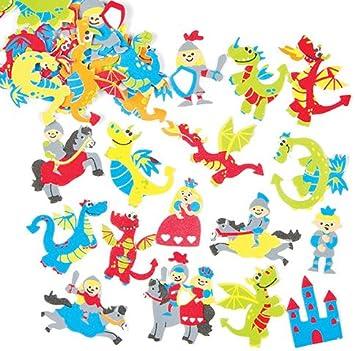 Pegatinas de Espuma con Diseños de Dragones para Decorar Tarjetas, Cuadernos, Manualidades y Collages Infantiles (Pack de 120): Amazon.es: Juguetes y juegos